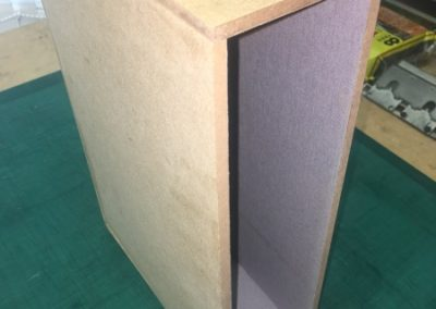 Box making. The inside lined with grey material
