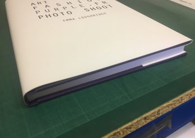 Art student book bound, accompanied with a dust jacket using her own artwork